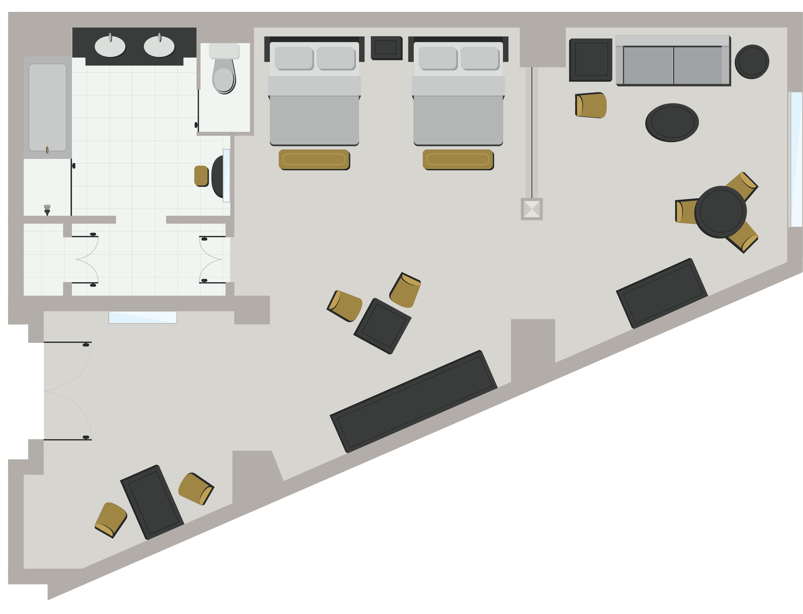 Premium Two Queen Suite Floor Plan